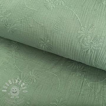 Dupla géz/muszlin Embroidery Leaf old green