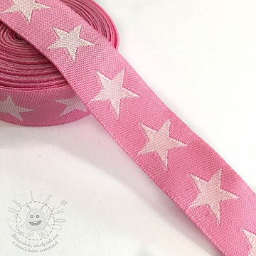 Szalag Stars pink/light pink