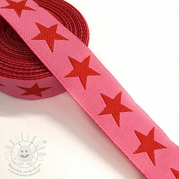 Szalag Stars pink/red