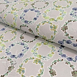 Cotton voile Bagatelle circles verde