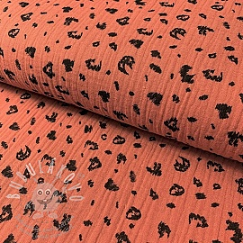 Dupla géz/muszlin Animal skin rust