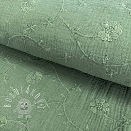 Dupla géz/muszlin Embroidery Clover old green