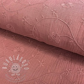 Dupla géz/muszlin Embroidery Clover old pink