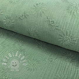 Dupla géz/muszlin Embroidery Daisy old green