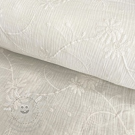Dupla géz/muszlin Embroidery Leaf off white