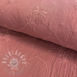 Dupla géz/muszlin Embroidery Leaf old pink
