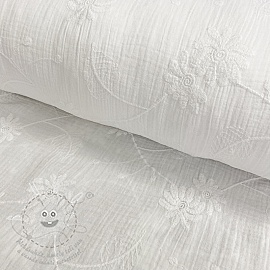 Dupla géz/muszlin Embroidery Leaf white