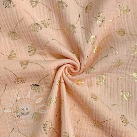 Dupla géz/muszlin FOIL Dandelion light salmon