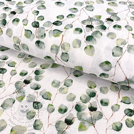 Dupla géz/muszlin Little eucalyptus flowers digital print