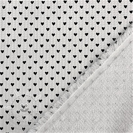 Frottír Waffle Pique Hearts white black