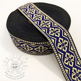 Jacquard Gold flower dark blue