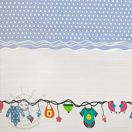 Jersey Childhood light blue border digital print