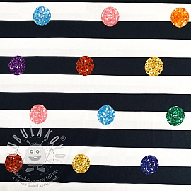 Jersey Colored dots with stripes digital print