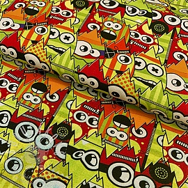 Jersey Crazy monsters lime digital print