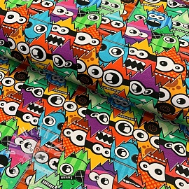Jersey Crazy monsters multi digital print