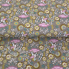 Jersey Golden fantasy taupe digital print