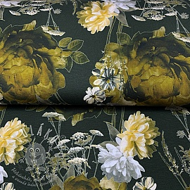 Jersey MIX Connie flowers khaki digital print