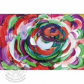 Jersey Painted flower colourful digital print panel