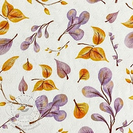 Jersey pointoille Aurora leaves digital print
