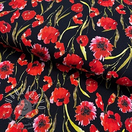 Jersey viscose Poppy field black