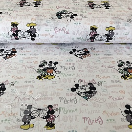 Pamutvászon Mickey and Minnie True love digital print