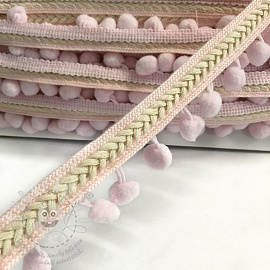 Pom-pom szalag Herringbone light pink