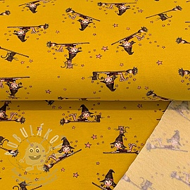 Szabadidő anyag fésült soft Little witch yellow