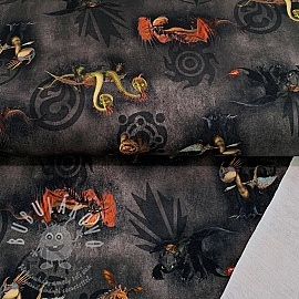 Szabadidő anyag How to train your dragon black digital print